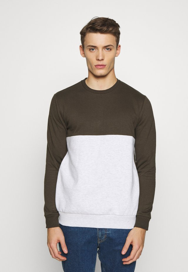 COLOUR BLOCK CREW - Sweater - khaki