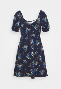 DITSY RUCHED FRONT BUBBLE SLEEVE FIT AND FLARE DRESS - Jersey dress - blue