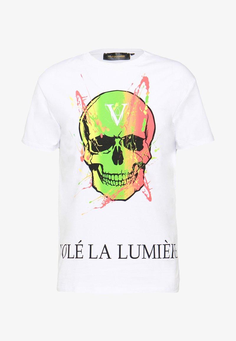 Volé la lumière - PAINT SPLATTER SKULL - T-shirt imprimé - white