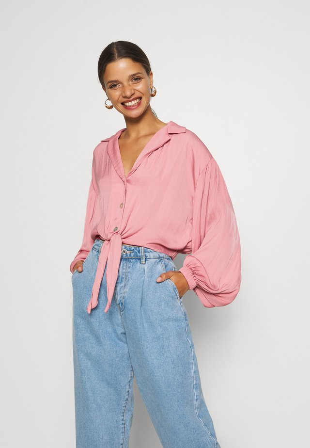TIE FRONT - Button-down blouse - pink