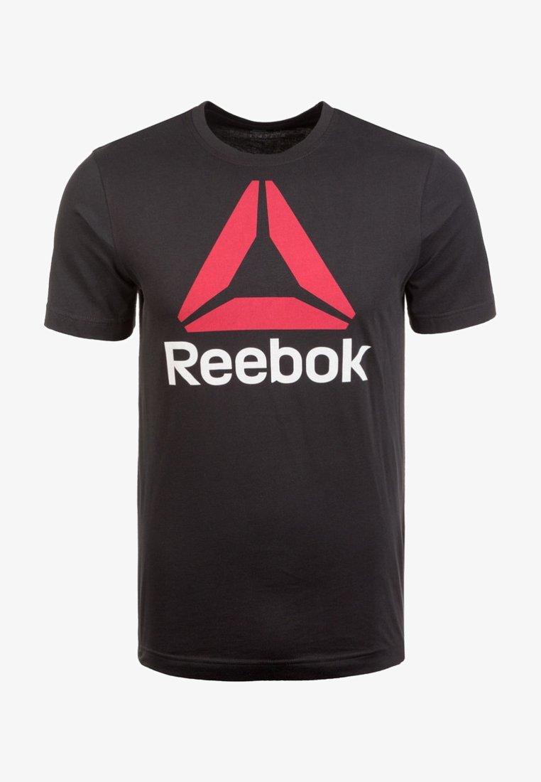 Reebok - QQR TRAININGSSHIRT HERREN - Print T-shirt - black