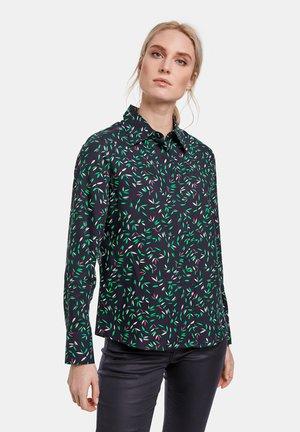 Button-down blouse - indigo gemustert