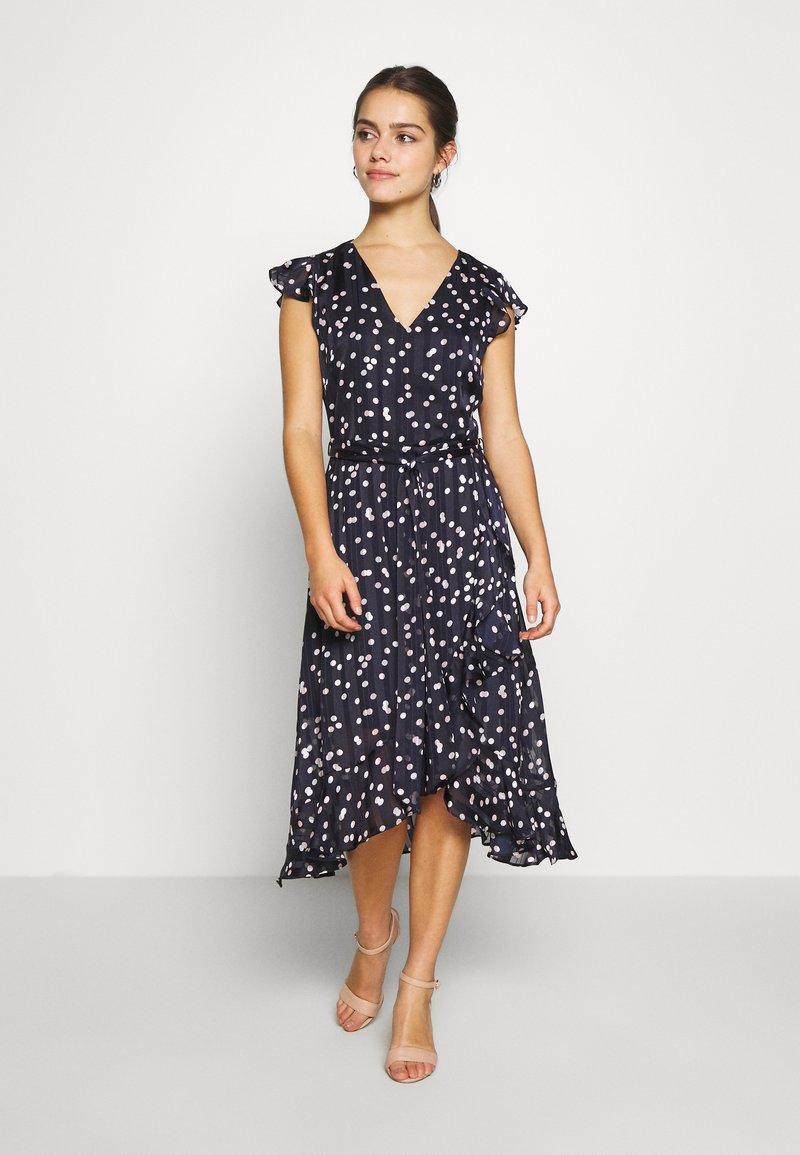 Wallis Petite - SPOT RUFFLE DRESS - Day dress - ink