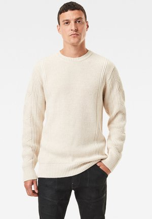 CONSTRUCTED WOOLEN ROUND LONG SLEEVE - Trui - ivory
