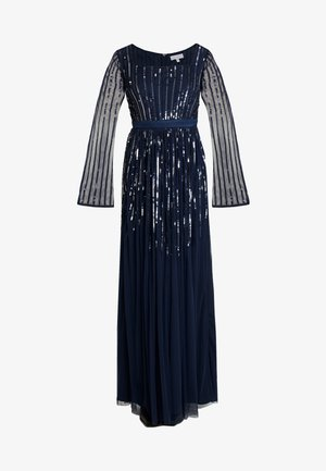 SQUARE NECK STRIPE EMBELLISHED MAXI DRESS WITH FLUTED SLEEVES - Společenské šaty - navy