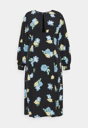 MIDAXI DRESS WITH PUFF LONG SLEEVES - Sukienka letnia - black