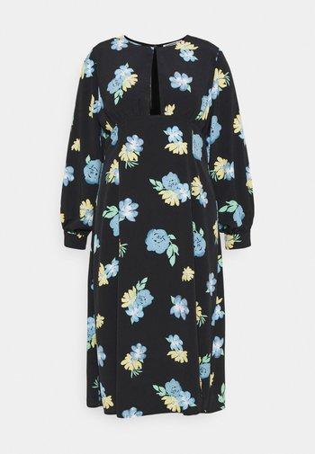 MIDAXI DRESS WITH PUFF LONG SLEEVES - Robe d'été - black