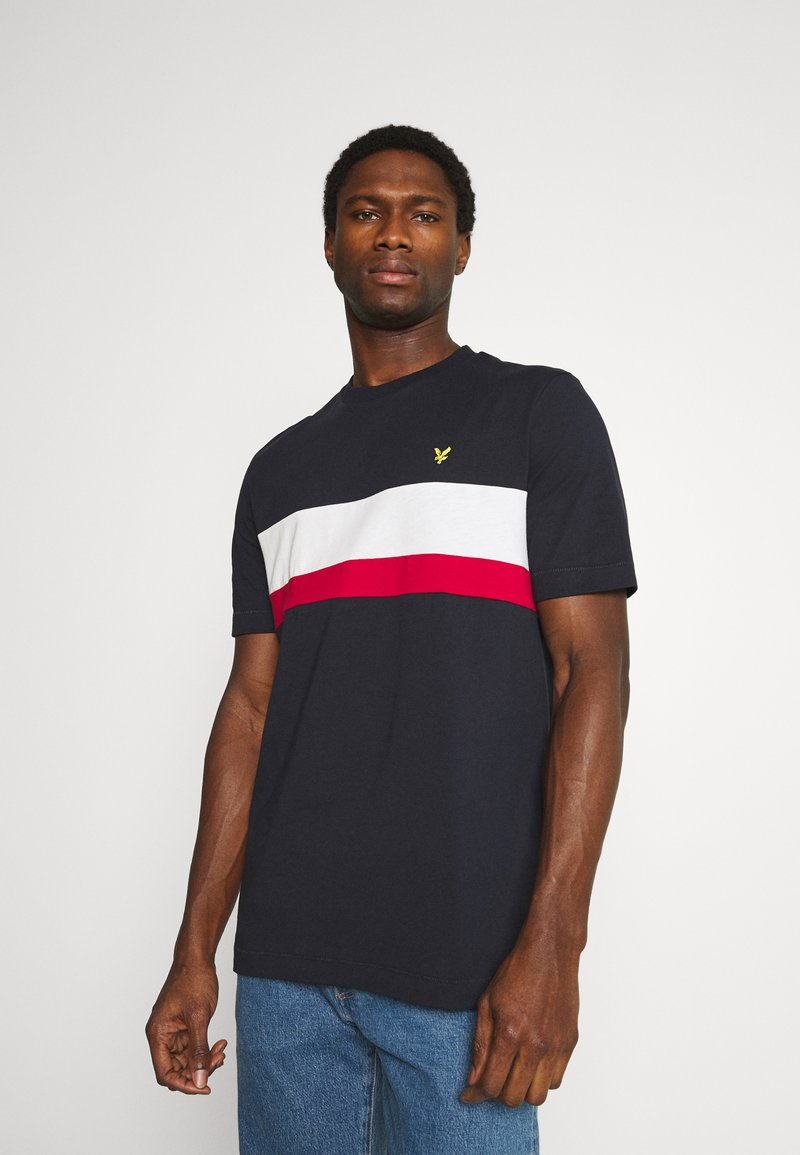 Lyle & Scott - CUT AND SEW RELAXED FIT - T-shirt med print - dark navy