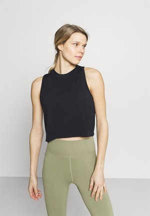 LIFESTYLE SEAMLESS YOGA CROPPED TANK - Topper - black