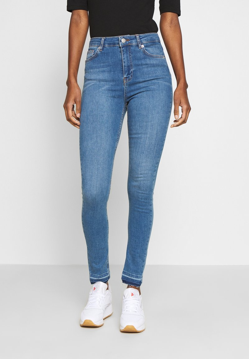 NA-KD Tall - HIGH WAIST OPEN - Jeans Skinny Fit - mid blue