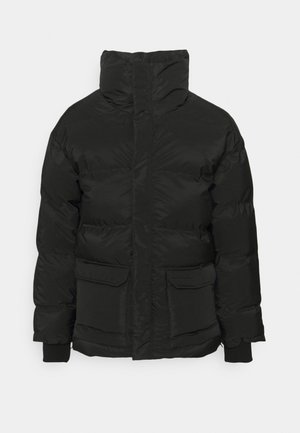 LONG JACKET WITH BRANDED COLLAR - Winter jacket - black