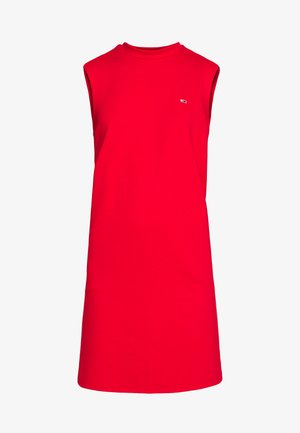 TAPE DETAIL A LINE DRESS - Jerseykjoler - deep crimson