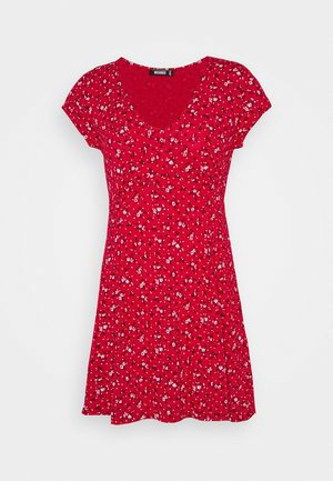 V NECK SKATER DRESS DITSY - Robe d'été - red