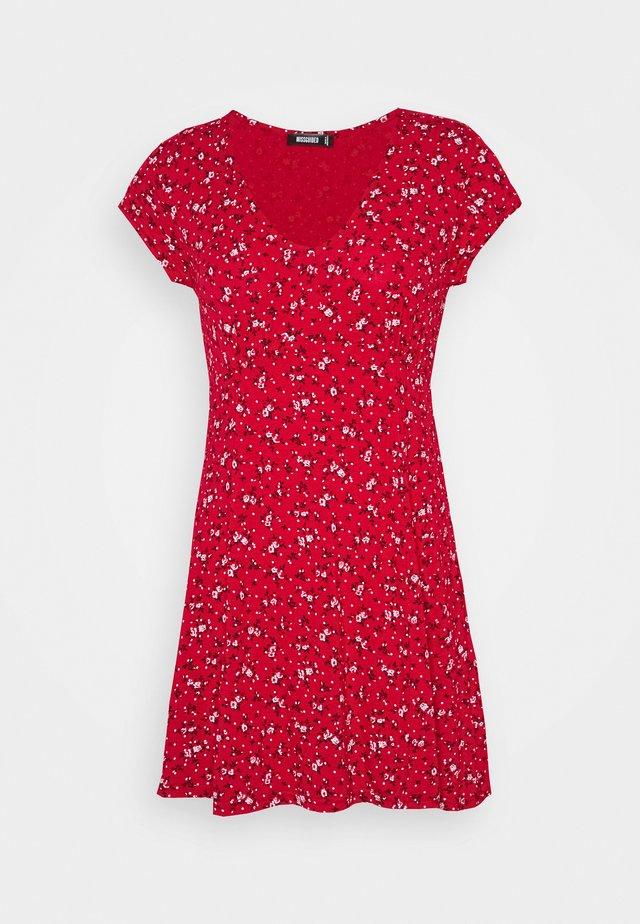 V NECK SKATER DRESS DITSY - Day dress - red