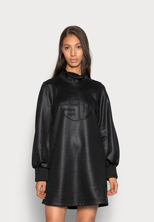 RUFFLE NECK EMBRO DRESS - Day dress - black