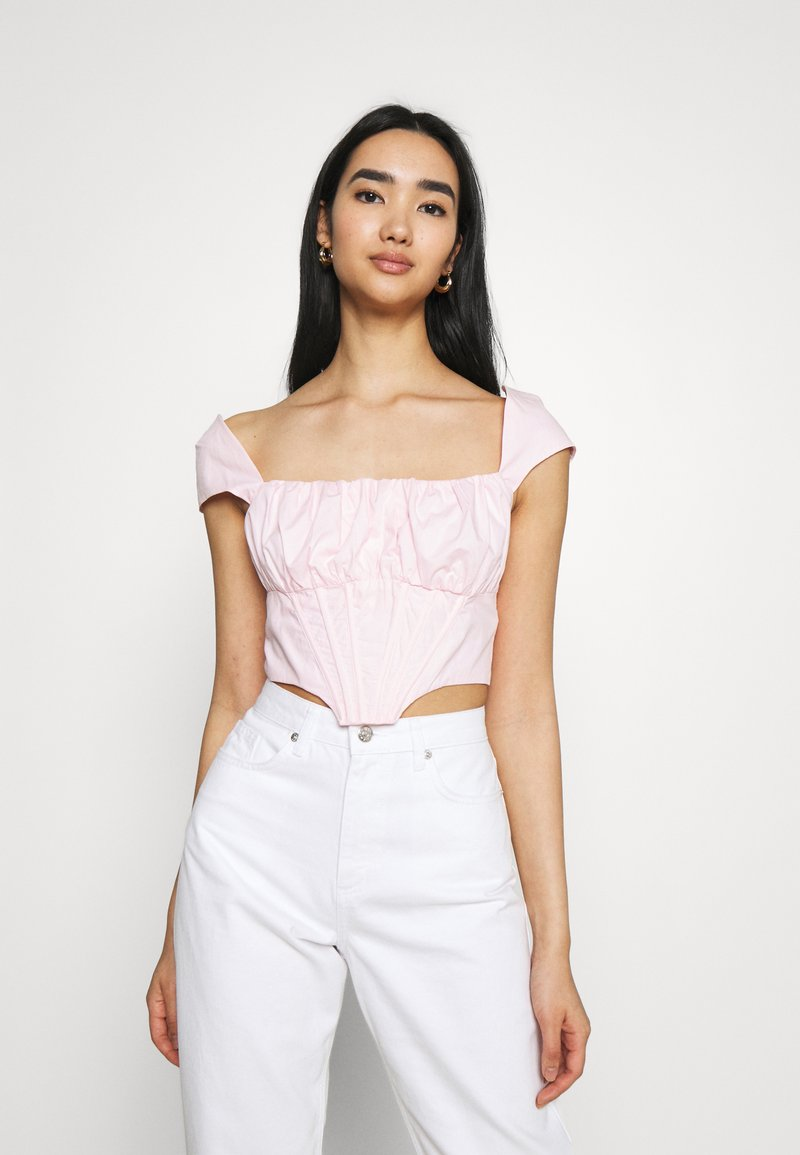 Missguided - RUCHED BUST CORSET TOP - Blouse - pink