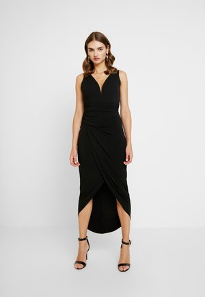 PLUNGE V NECK KNOT DRESS - Cocktailkjole - black