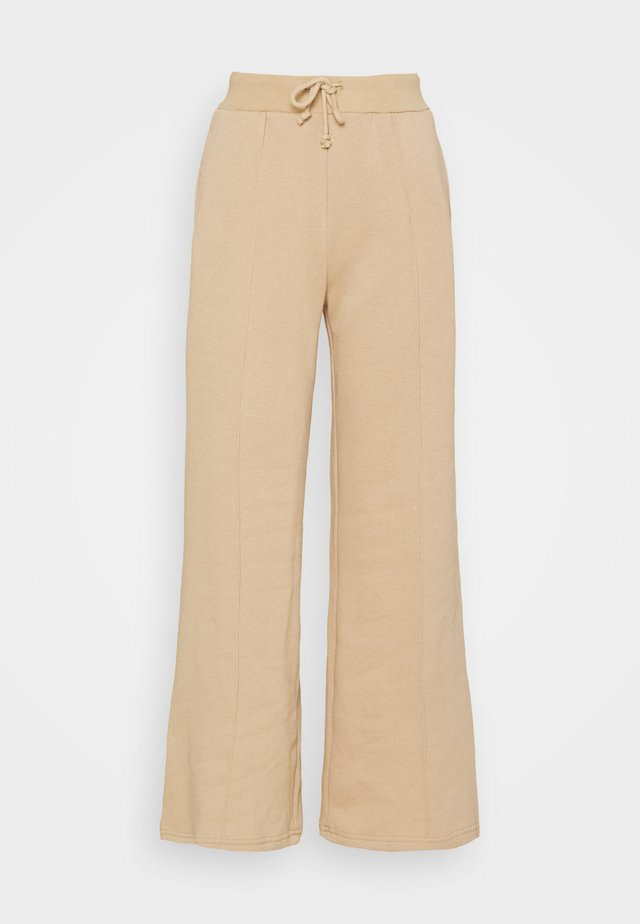 WIDE LEG JOGGERS WITH PINTUCK - Tracksuit bottoms - beige