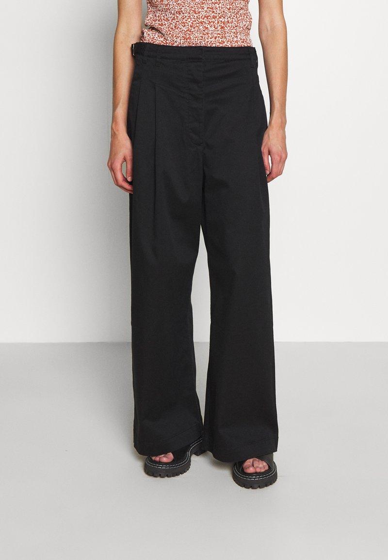 Proenza Schouler White Label - WIDE LEG PANTS - Stoffhose - black