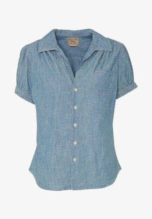 BELLA SHORT SLEEVE SHIRT - Button-down blouse - medium indigo