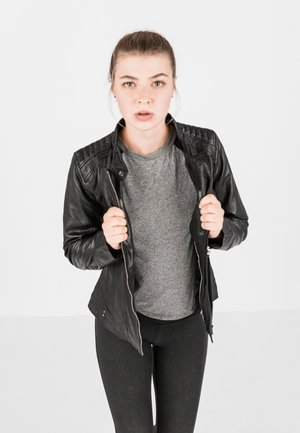 LOTTE - Leather jacket - schwarz