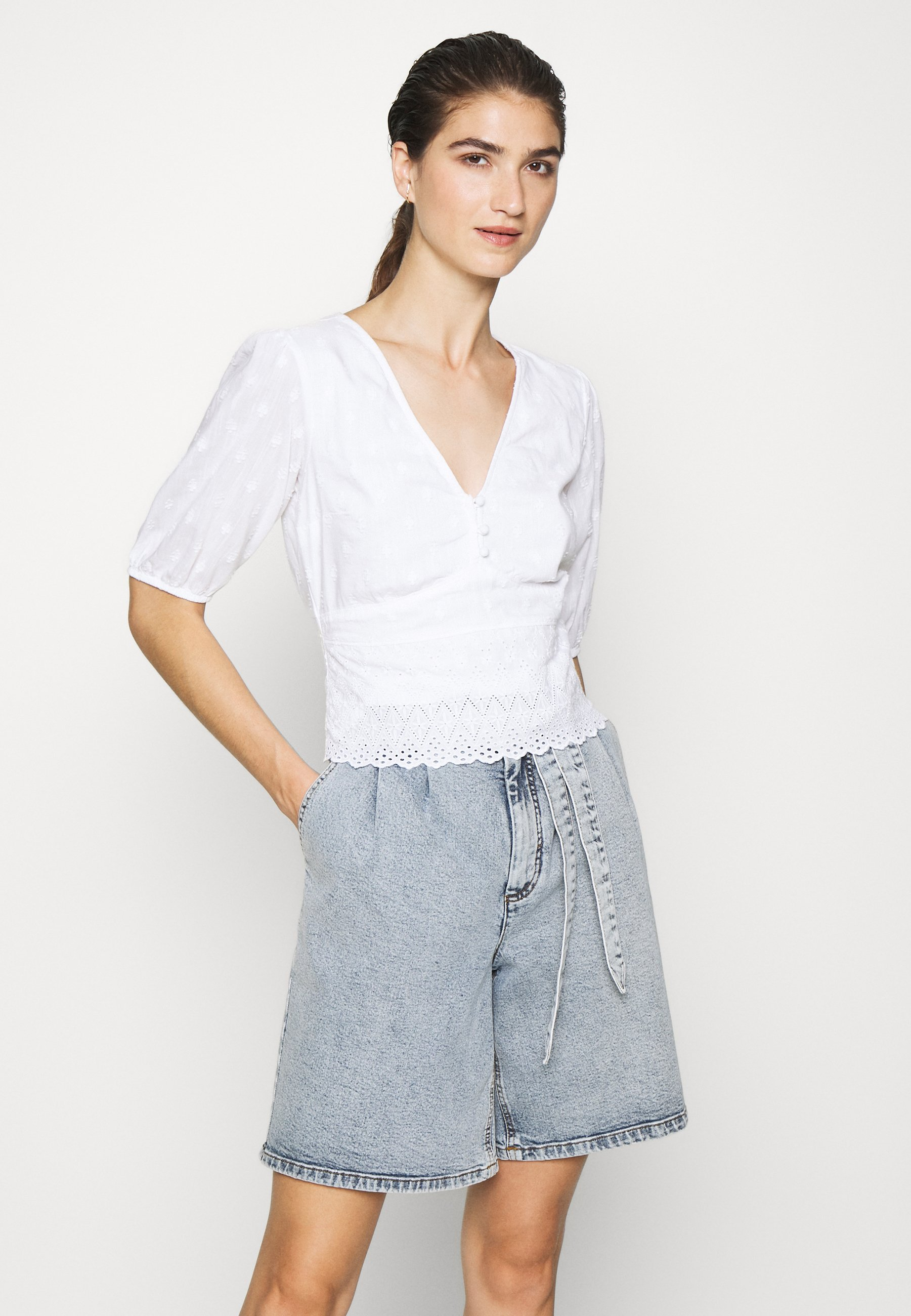 Abercrombie & Fitch Puff Sleeve Blouse - White