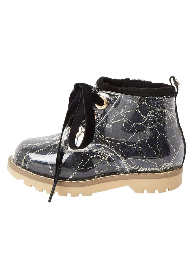MINI GIRLS BLACK LACE HIKER BOOT - Lace-up ankle boots - black