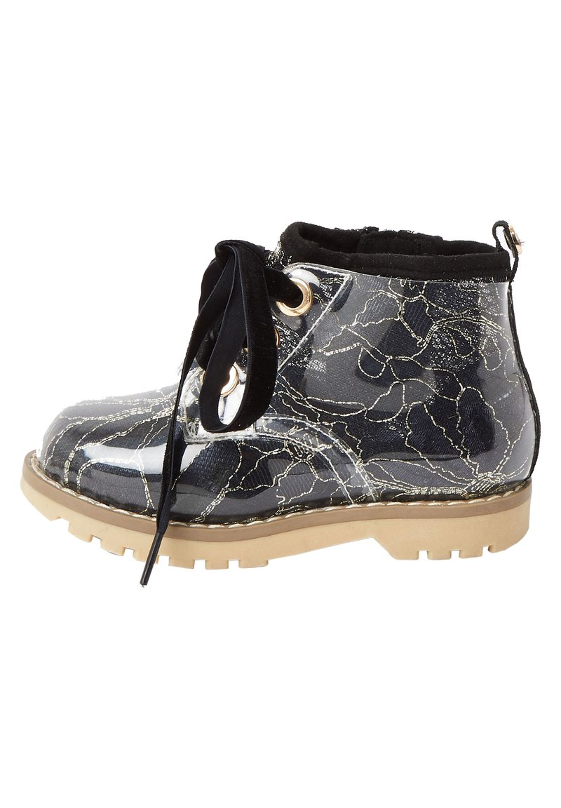 River Island - MINI GIRLS BLACK LACE HIKER BOOT - Lace-up ankle boots - black