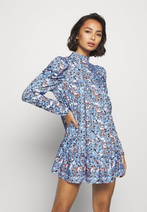 PETITETIERED PUFF SLEEVE DRESS DITSY FLORAL - Skjortekjole - blue