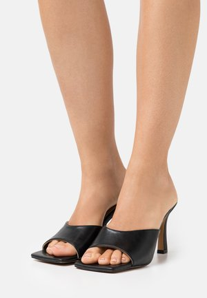 ROUNDED STRAP MULES - Heeled mules - black