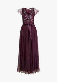 RUFFLE SLEEVE EMBELLISHEDBODICE DRESS WITH SASH TIE BELT - Occasion wear - plum