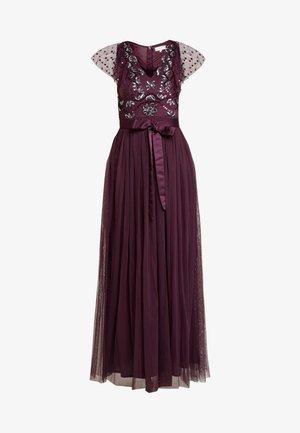 RUFFLE SLEEVE EMBELLISHEDBODICE DRESS WITH SASH TIE BELT - Suknia balowa - plum