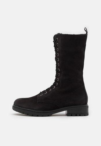 LEATHER - Platform boots - black