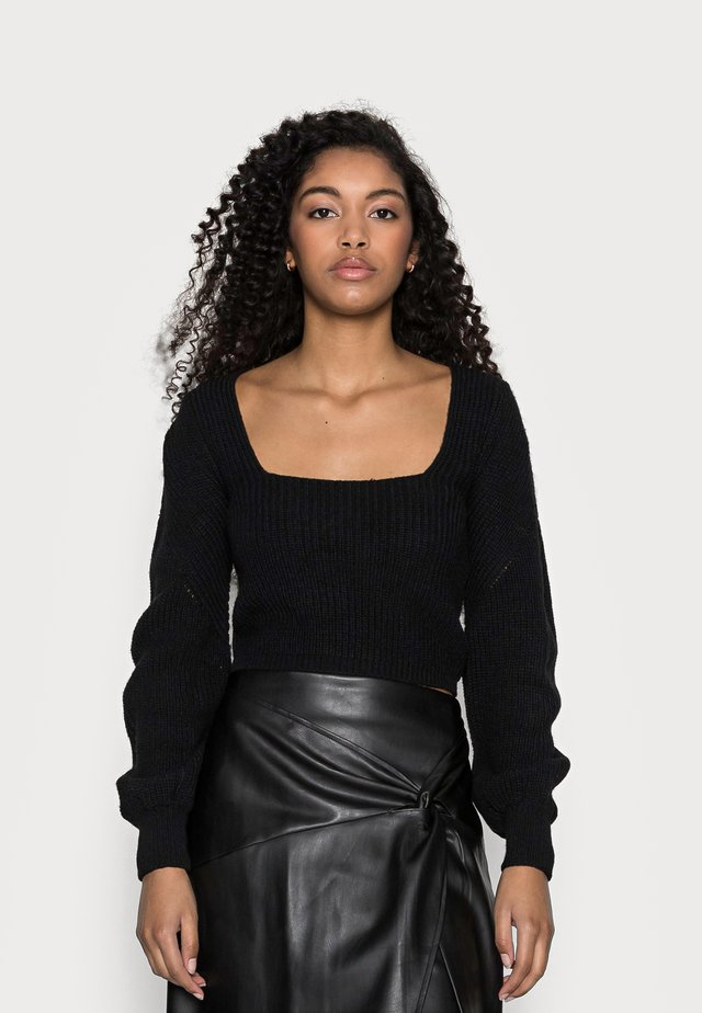 BOW BACK NECK JUMPER - Maglione - black