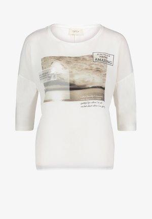 MIT AUFDRUCK - Long sleeved top - cream/nature