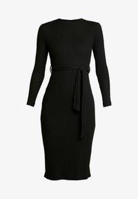 New Look - RIB BELTED MIDI - Pouzdrové šaty - black - 3