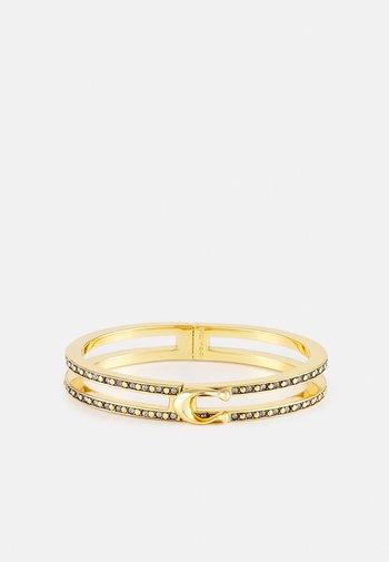 DOUBLE ROW PAVE HINGED BANGLE - Bracelet - gold-coloured