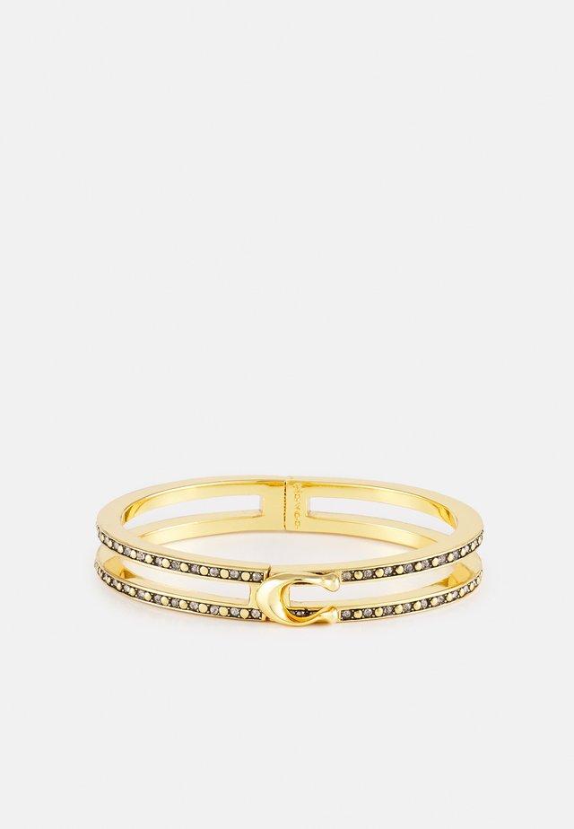 DOUBLE ROW PAVE HINGED BANGLE - Armband - gold-coloured