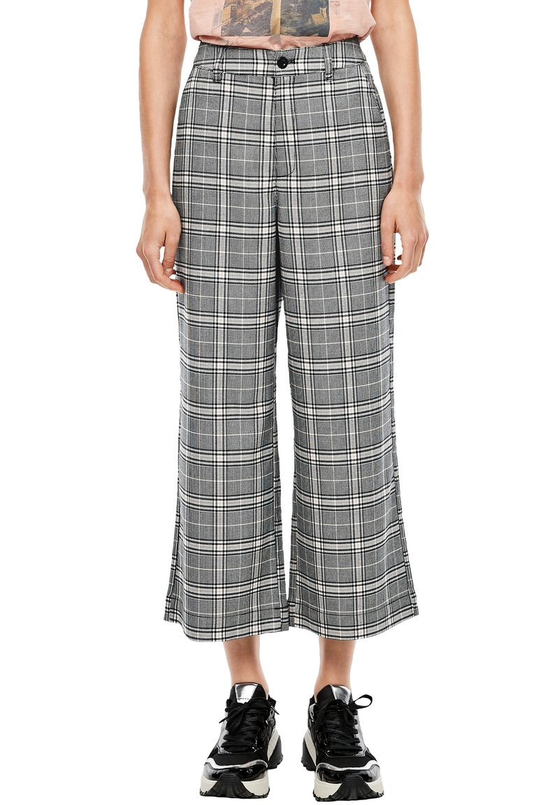 Q/S designed by - KARIERTE CULOTTE - Trousers - black check