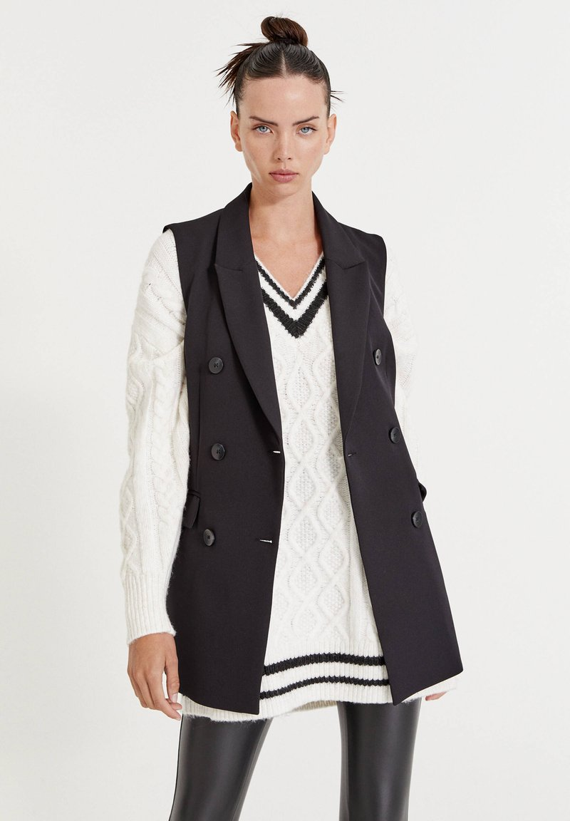 PULL&BEAR - LEICHTE - Waistcoat - mottled black