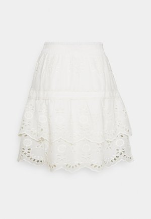 SKIRT BRODERIE ANGLAISE - A-linjainen hame - off white