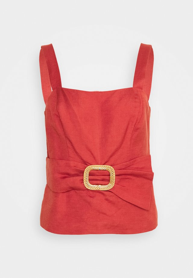 BYRON BELTED PEPLUM BUSTIER - Top - orange rust
