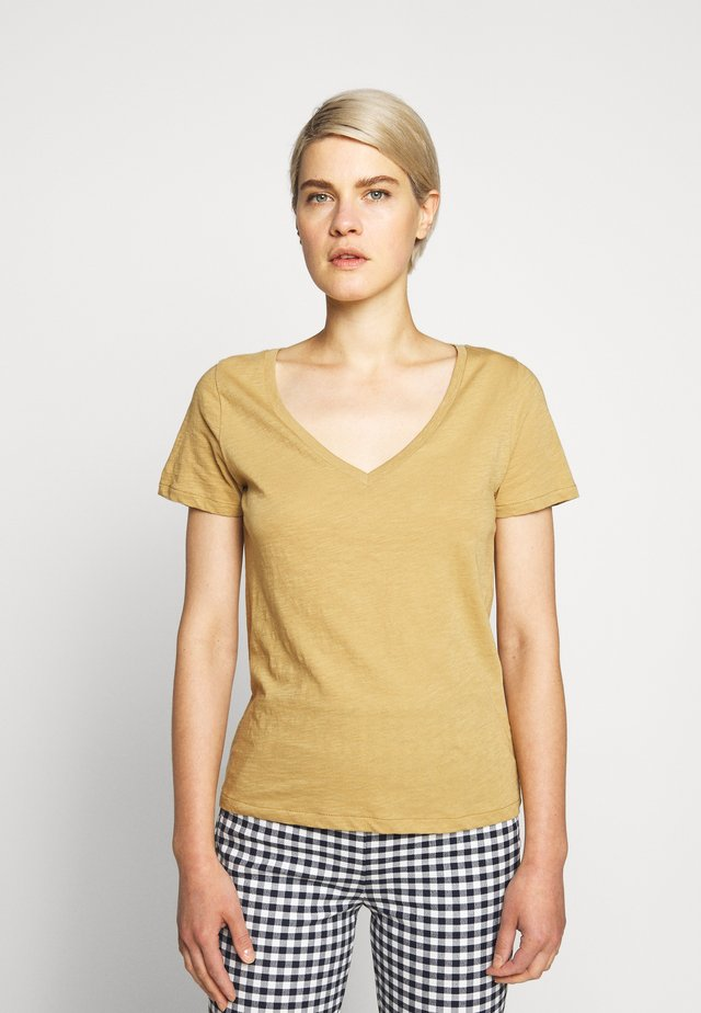 VINTAGE V NECK TEE - T-shirt basic - honey brown
