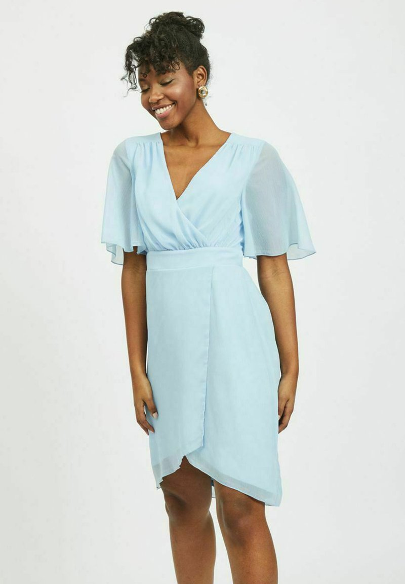 Vila - VIRILLA 2/4 SLEEVE DRESS - Vestito elegante - cashmere blue