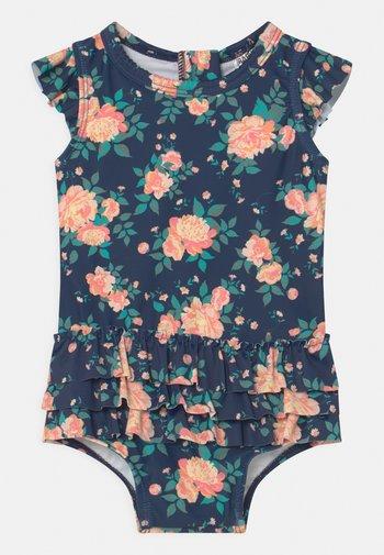 CHARLENE RUFFLE SWIMSUIT - Swimsuit - indigo/retro coral