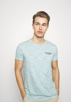 Print T-shirt - white/dark green melange