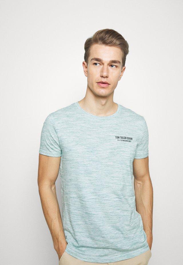 T-shirt print - white/dark green melange