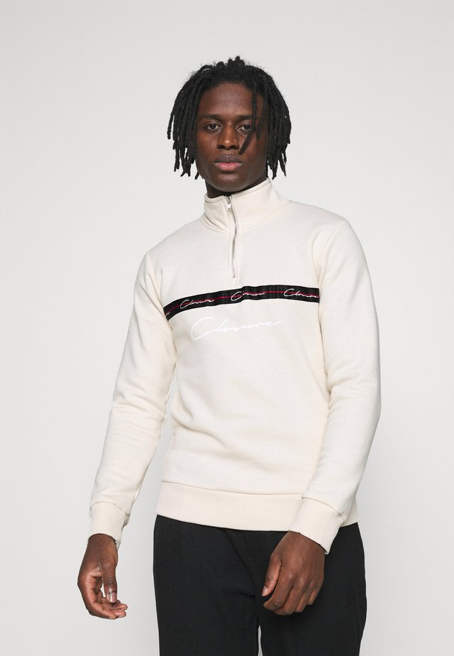 TAPED HALF ZIP FUNNEL NECK - Mikina - off white