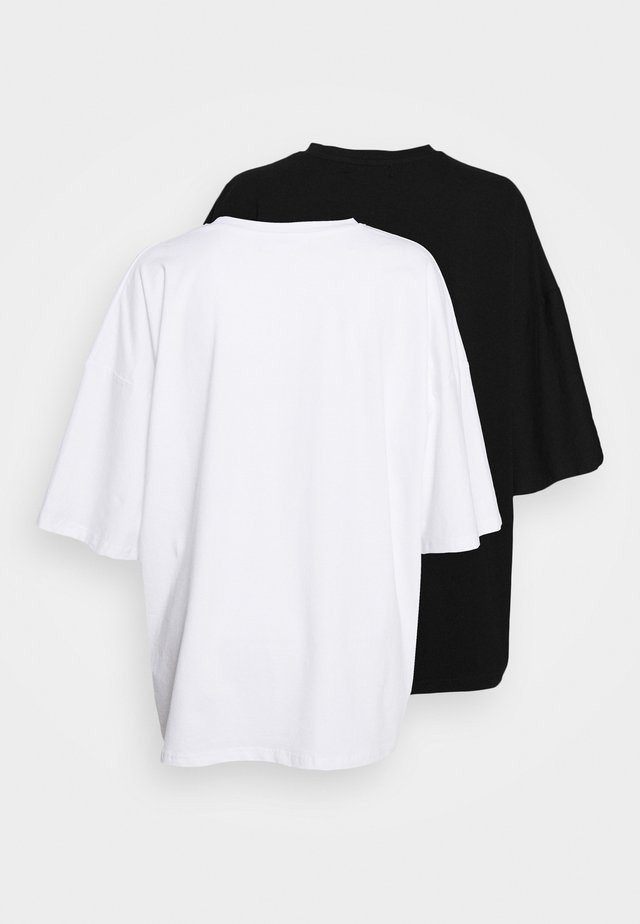 DROP SHOULDER OVERSIZED 2 PACK - T-shirt basique - black/white