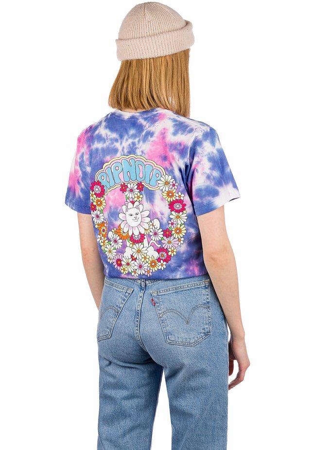 Print T-shirt - blue pink tie dye